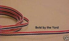 RED/WHITE/BLUE Ribbed Polyester Ribbon in 1/8 Inch (3mm) Width SOLD BY THE YARD