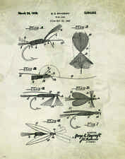"Fishing Lure US Patent Poster Art  Antique Reels Fly Rods Flies 11""x14"" PAT62"