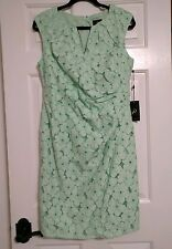 NWT Adrianna Papell Side Pleated Sheath Ruched Floral Lace Mint Dress Sz 14P