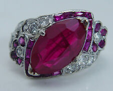 Vintage Art Deco Platinum 3cts center untreated Ruby Diamonds Ring