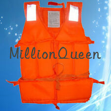 200D Adult Foam Flotation Swimming Life Jacket Vest With Whistle Orange
