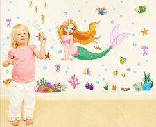 Little Mermaid Wall Art Stickers Removable Kids Nursery Vinyl Decal Decor DIY