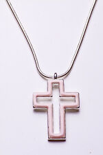 SILVER METAL NECKLACE W. PASTEL PINK OPEN CROSS PENDANT, 7CM ADJUSTABLE (ZX40)