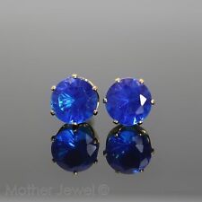 GORGEOUS LARGE 8MM BRIGHT BLUE CZ YELLOW GOLD PLATED ROUND UNISEX EARRINGS STUDS