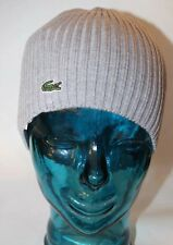 NWT Lacoste Toque Winter Bonnet Gray 100% Wool Men Made In Bulgaria