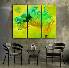 Beautiful Abstract Australia Map watercolor FRAMED Canvas prints Triptych