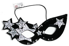 LADIES BLACK & SILVER STARS LADY GAGA FANCY DRESS MASQUERADE MASK BNWT