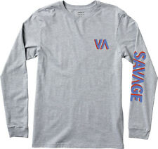 NWT MEN'S RVCA SIZE MEDIUM LONG SLEEVE SAVAGE T-SHIRT GRAY GRAPHIC TEE SKATE