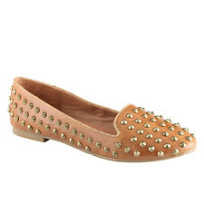 Ladies ALDO CORINETTE Cognac Patent Stud Loafer UK 4.5 EU 37.5 RRP £60 ONLY £20