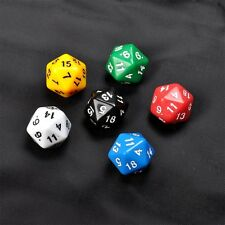 6 Set D20 Gaming Dice Twenty Sided Die RPG D&D Six Opaque Colors F7
