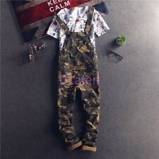 British Mens Camo Overalls Straight Leg Pants Cropped jeans Trousers Jumpsuit