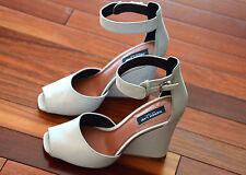 Derek Lam Nansen Too Leather Suede Wedge Peep Toe Sandal White Sz 9 Shoes Heels