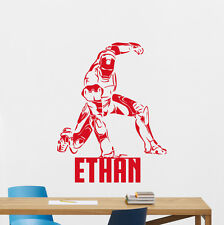 Custom Name Iron Man Wall Decal Superhero Personalized Vinyl Sticker Mural 49thn