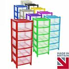 Plastic Large Tower Storage Drawers Chest Unit with Wheels MADE IN U.K
