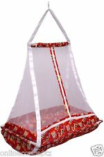 JACK & JILL  Baby Happy Cradle With Top Swing Jhula With Mosquito Net Red