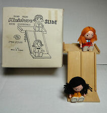 "Dollhouse Furniture Slide and 2 Dolls Playground Miniature Wooden 3.75""H"