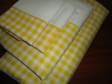 JCP PENNEY YELLOW & WHITE GINGHAM (4PC) QUEEN SHEET SET PERCALE COTTON BLEND