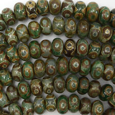 "12mm green tibetan DZI agate rondelle beads 13"" strand heaven eye"