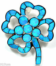 Blue Fire Opal Inlay Solid 925 Sterling Silver Huge Heart Flower Bouquet Pendant