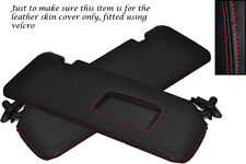 RED STITCH FITS BMW E46 CONVERTIBLE CABRIO 98-05 2X SUN VISORS LEATHER COVERS