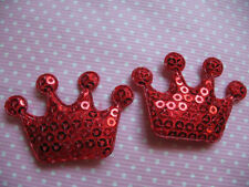 10 x SEQUIN RED CROWN PADDED APPLIQUE EMBELLISHMENT HEADBANDS DUMMY CLIPS