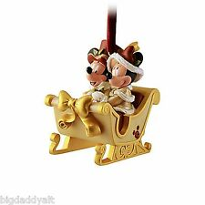 New Disney World Parks Victorian Mickey and Minnie Sleigh Christmas Ornament