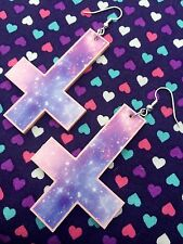 Pastel Galaxy Inverted Cross Crucifix Dangle Earrings...Kawaii / Goth