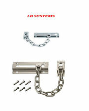 STRONG CHROMED STEEL SECURITY DOOR CHAIN GUARD SLIDE BOLT + SCREWS HOME SAFETY