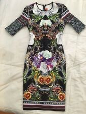 *CLOVER CANYON* XS NEOPRENE FLORAL PRINT SHORT SLEEVE PENCIL BODYCON MINI DRESS