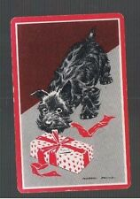 Playing Swap Cards  1 VINT  SCOTTIE DOG OPENING HIS CHRISTMAS PRESENT  W18
