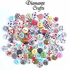100 15mm WOODEN BUTTONS - Random Mix -  Card Craft Sewing Scrapbook - Design 1