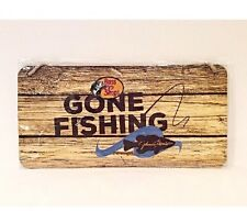 "Fishing Sign - NEW! ""Gone Fishing"" Bass Pro Shops & Johnny Morris Plaque - 12in"