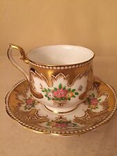 "Royal Albert ""ROYALTY"" Tea Cup & Saucer Set Gold Floral Bone China ENGLAND!"