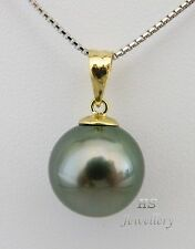 HS Round Black Tahitian South Sea Cultured Pearl 11.8mm, 18KYG Pendant Top Grade