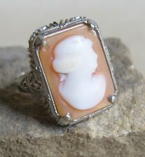 14K White Gold Filigree & Carved Shell Cameo Ring Size 6.25 Antique