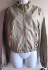 BCBG MAX AZRIA BEIGE TAUPE VERY SOFT 100% GENUINE LEATHER ZIP UP JACKET SZ S