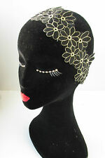 Black and Gold Lace Flower Headband Flapper Great Gatsby 1920s Vintage Deco W20
