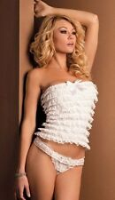 Sexy Sugar Cookie Strapless Ruffled Cami Set UK 8 to 10 Valentines Special White