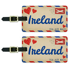 Air Mail Postcard Love for Ireland Luggage Suitcase Carry-On ID Tags Set of 2