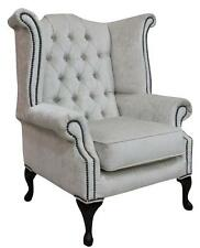 Chesterfield Queen Anne Wing High Back Chair Pastiche Chalk Velvet