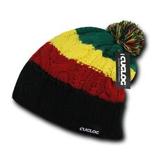Black Rasta Marley Jamaican Warm Woven Winter Sweater Pom Slouch Beanie Hat Cap