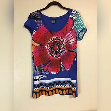 Desigual Sequin Flower Shirt Top Tee Size L, M Blue