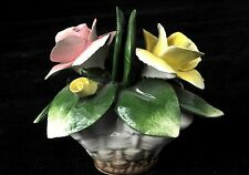 Nuova Capodimonte Porcelain Yellow/Pink Roses with Small Basket Italy