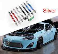 "SILVER ADJUSTABLE 4.5"" - 8"" FRONT BUMPER LIP SPLITTER ROD STRUT TIE BAR SUPPORT"