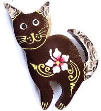 Magnet Aimant Chat Bois Frigo Artisanal Animal cat Fleur wooden