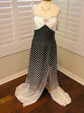 NWT Forever Yours 910107 pageant prom  cocktail party dress White/Black POLKA 16