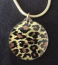 Vintage Leopard Print Pendant Necklace Gold Tone LONG Chain