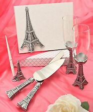 Paris Eiffel Tower Wedding Guest Book ,Pen, Champagne Flutes Cake & Knife server