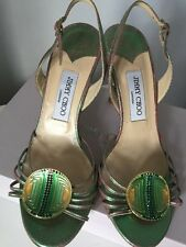 Jimmy Choo Becca green pink cracked metallic suede crystal disc iridescent 38