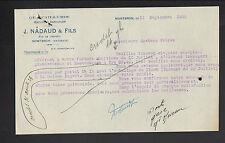 """MONTBRON (16) QUINCAILLERIE & MACHINES AGRICOLES """"J. NADAUD & Fils"""" en 1928"""